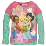 Disney Fairies - Friendly Bunch Girls Juvy 2Fer Long Sleeve T-Shirt