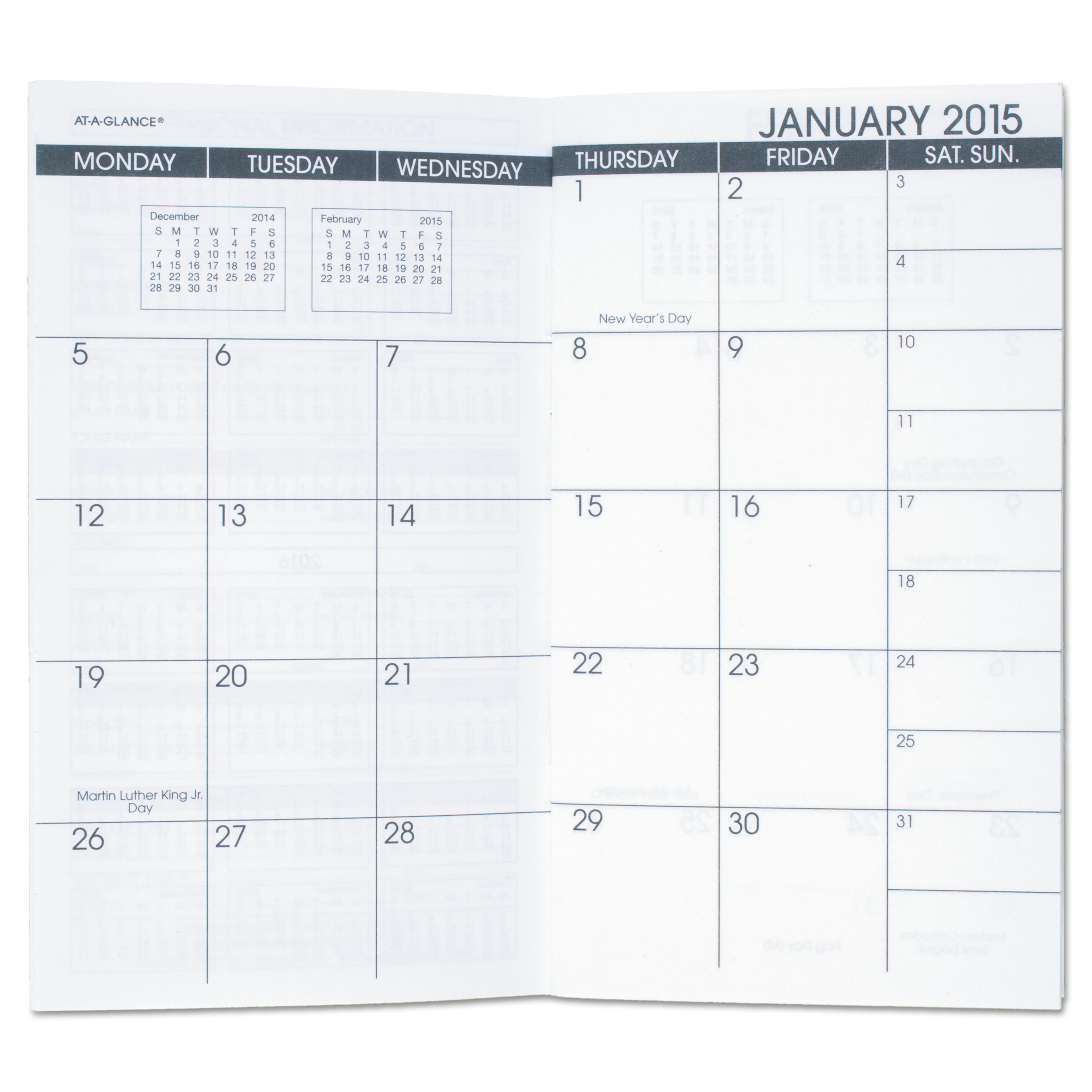 AT-A-GLANCE Pocket Size Monthly Planner Refill, 3 5 8 x 6 1 8, White, 2017-2018 by AT-A-GLANCE