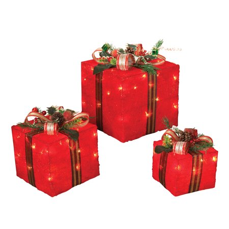 Indoor/Outdoor Light Up Red Christmas Gift Boxes Presents Lights Lawn Yard Decor