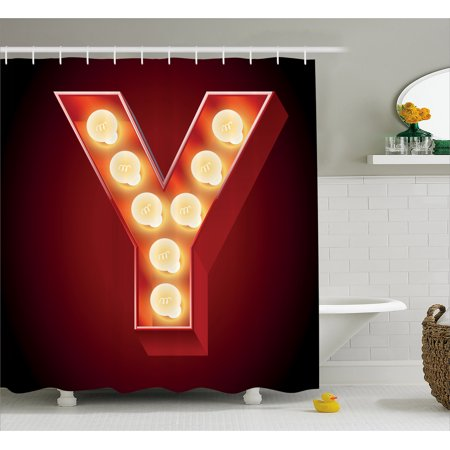 Letter Y Shower Curtain  Casino Nightclub Inspired Alphabet Typography Entertainment Retro Y  Fabric Bathroom Set With Hooks  69W X 75L Inches Long  Vermilion Yellow Black  By Ambesonne