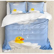 Ambesonne Rubber Duck Taking a Bath with Cloud Over Head Humorous Kids Room Print Duvet Cover Set
