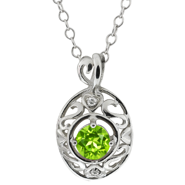 """0.61 Ct Round Green Peridot White Topaz Sterling Silver Pendant with 18"""" Chain"""