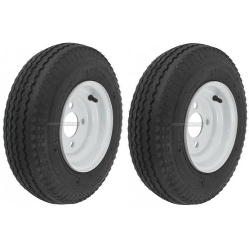 LRB 4 Lug Hole Bolt White Wheel eCustomRim Trailer Tire On Rim 5.70-8 570-8 5.70 X 8 8 in