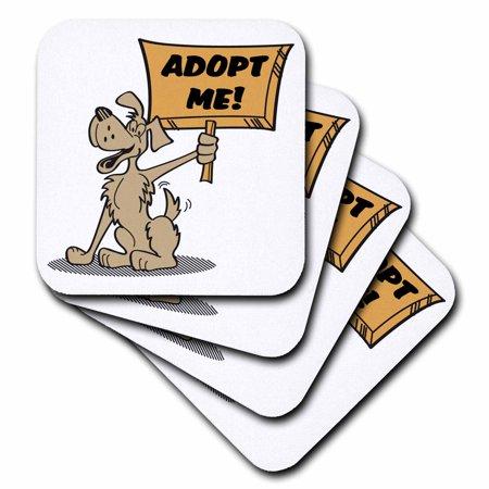 3dRose Retro Style Cartoon Dog Holding Adopt Me Sign Pet Adoption Cartoon, Soft Coasters, set of