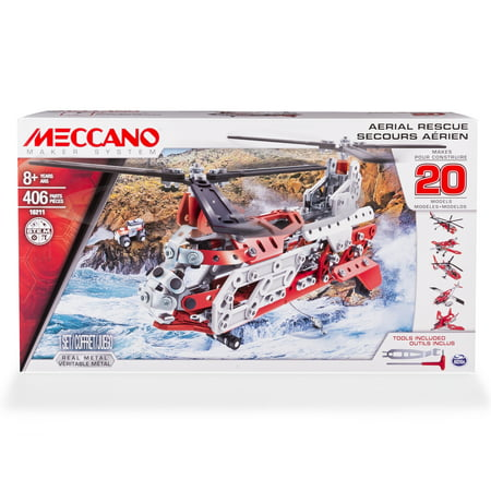 Meccano, Aerial Rescue 20 Flight Model Building Set, 406 Pieces, STEM Engineering Education Toy for Ages 8 and