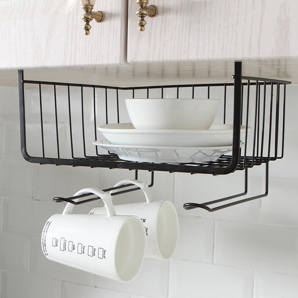 Southern Homewares Under Shelf Basket Wire Wrap Rack White Storage Organizer ...