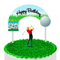 Cake / Food / Cupcake / Desert Decoration Banner Decorating Topper Kit Golf
