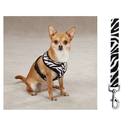 Soft Anti Pull Chest Plate Harness & Lead Combos for Dogs Matching Dog Sets !(Small Zebra Print)