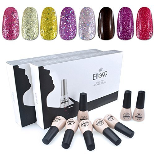 Elite99 Soak Off UV LED Gel Nail Polish 8 Colors Lacquer Manicure Pedicure Nail Art Decoration C013
