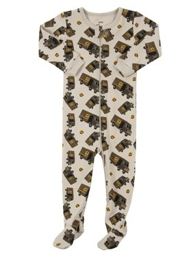 Leveret UPS Truck Footed Pajama Sleeper 100% Cotton Beige 12-18 Months