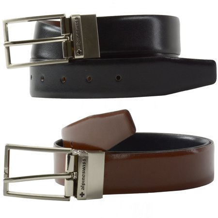 Alpine Swiss Mens Dress Belt Reversible Black Brown Leather Imported from Spain ()