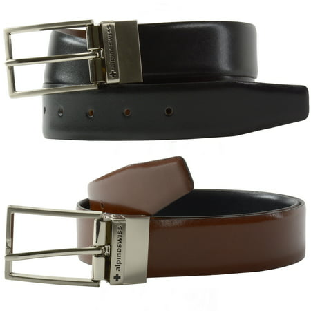 Alpine Swiss Mens Dress Belt Reversible Black Brown Leather Imported from Spain (Bandolier Belt)