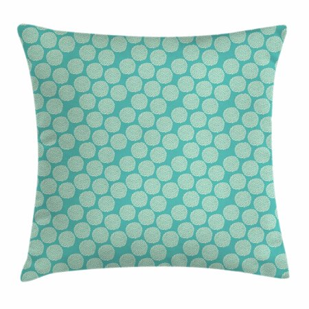 Floral Throw Pillow Cushion Cover, Abstract Motifs Inspired by Rural Woodland Nature Modern Foliage Design, Decorative Square Accent Pillow Case, 18 X 18 Inches, Turquoise and Cream, by Ambesonne
