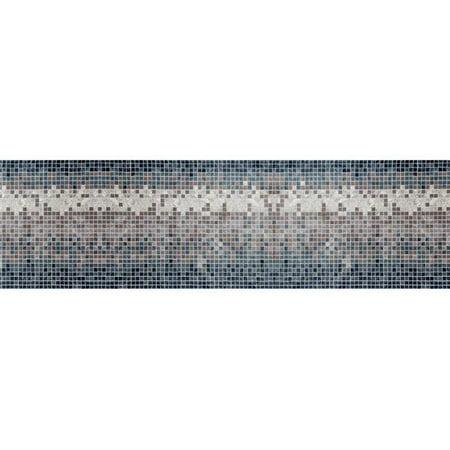 Aqua Titanium Necklace - 3 x 9 ft. Titanium Collection Mosaic Woven Area Rug, Aqua