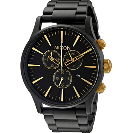 Nixon 'The Sentry' Chronograph Bracelet Watch, 42mm - Black Matte/ Gold A3861041 ()