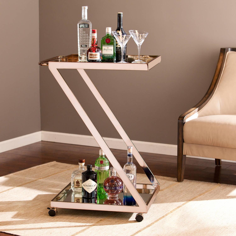 Southern Enterprises Troy Bar Cart, Metallic Gold