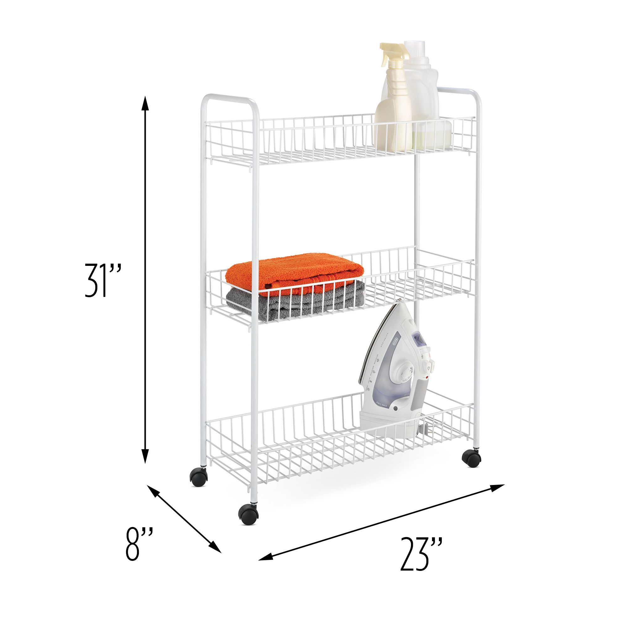 Honey Can Do 3-Tier Rolling Cart for Laundry Items, White
