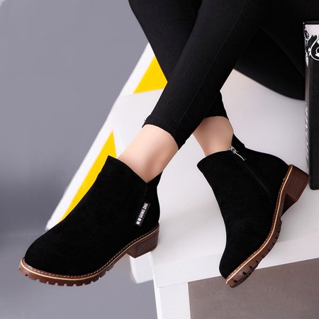 Women Ankle Boots Short Martin Boots Chunky Heels Boots Female Fashion Shoes