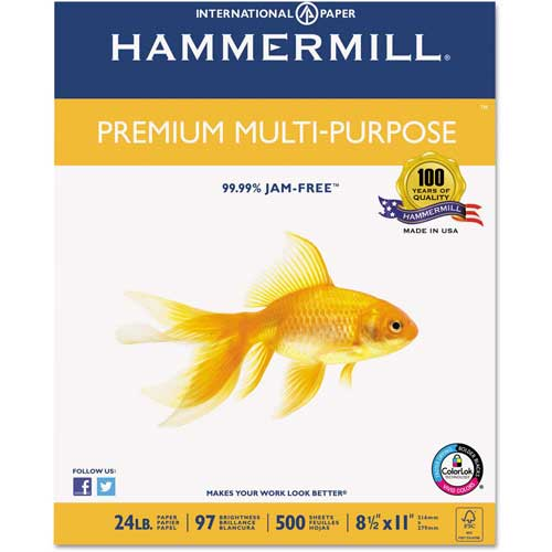 Hammermill Premium Multipurpose Paper, 8.5x11In, 24lb, 97 Bright, 500 Sheets