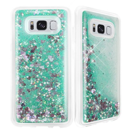 Samsung Galaxy S8 (2017) Case, Creative Luxury Bling Glitter Sparkle Liquid Case Infused with Glitter and Stars Moving Quicksand For Samsung Galaxy S8 - Green
