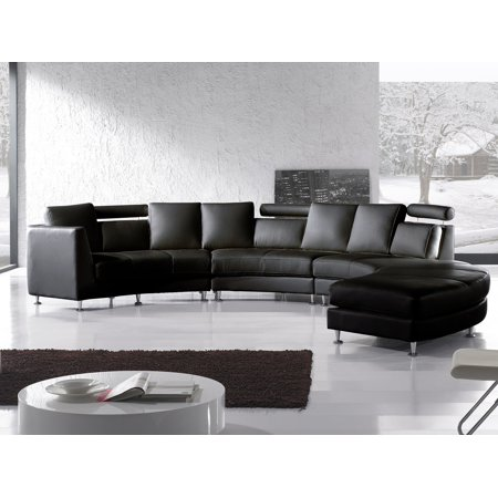 Modern Curved Sectional Sofa with Chaise and Headrests Black Leather Rotunde