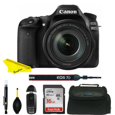 Canon EOS 80D DSLR Camera with 18-135mm Lens+24.2MP APS-C CMOS sensor and DIGIC 6 Image processor Basic Bundle