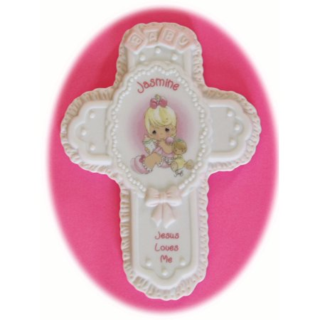 Jasmine Porcelain Cross Handle (Jesus Loves Me Personalized Jasmine Porcelain Wall Cross)