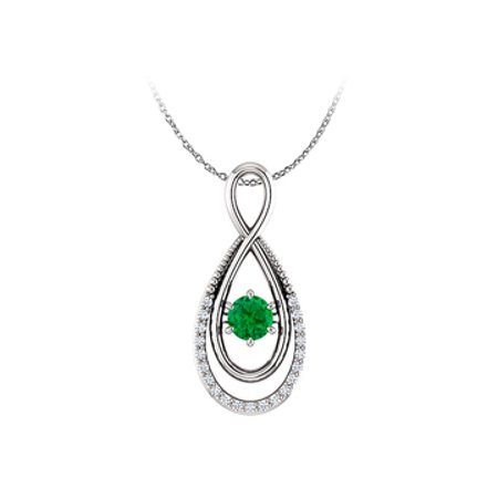 Emerald and CZ Infinity Pendant with Double Loop Style - image 1 de 2