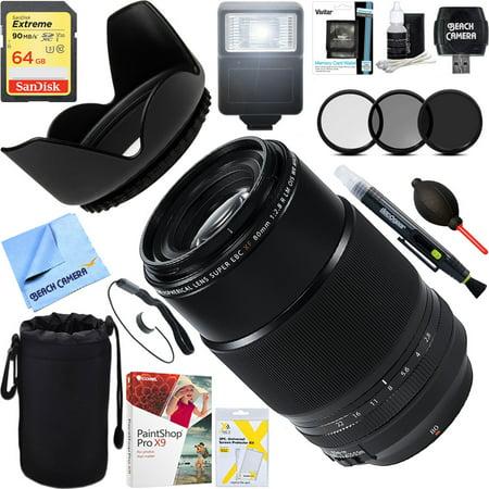 Fujifilm (16559168) FUJINON XF 80mm F2.8 R LM OIS WR Macro Lens + 64GB Ultimate Filter & Flash Photography