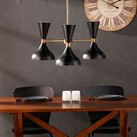 Southern Enterprises Axella 3-Light Pendant Lamp, Black and Antique Brass