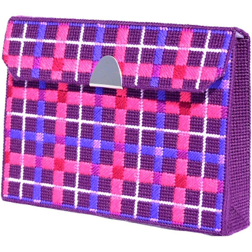 Framous Kits Tartan Clutch Framous Plastic Canvas Kit, 6.5 by 8.6 by 2-Inch, Royal Purple Multi-Colored