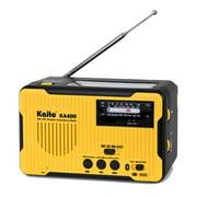 Kaito KA400 Emergency AM FM NOAA Weather Alert Radio with Solar Crank Bluetooth MP3 Player