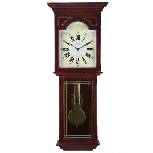 "Bedford Clock Collection Redwood 23"" Wall Clock with Pendulum and Chime by Bedford Clock Collection"