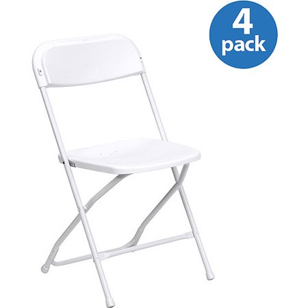 Fabric Outdoor Folding Chair - HERCULES (4-Pack) Series Premium Plastic Folding Chair, White