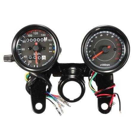 - MATCC 12V Motorcycle LED Light Odometer & Tachometer Speedometer Gauge Meter Universal Motorbike Pit Dirt Bike ATV Black km/h RPM US