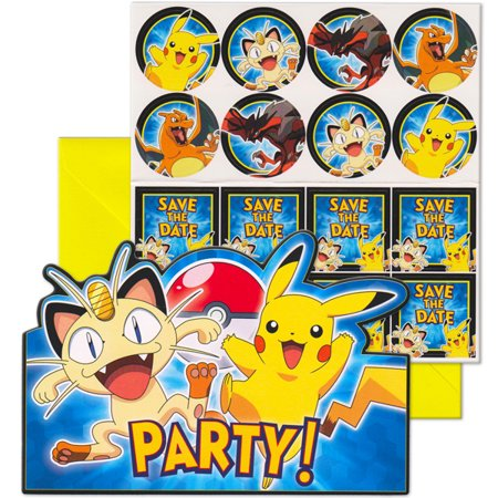 Pokemon Pikachu Birthday Party Invitation 16 Count With Save The Date Stickers