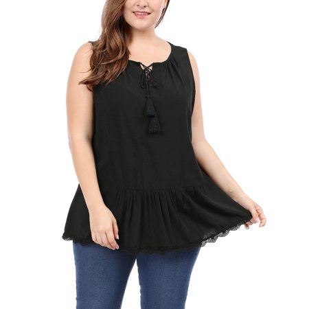Unique Bargains Women's Plus Size Lace Trim Lace-Up Front Sleeveless Top (Plus Size Bargains)