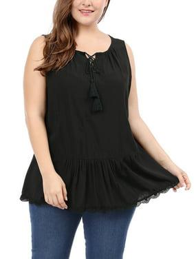 658a1ab4ad110c Product Image Unique Bargains Women's Plus Size Lace Trim Lace-Up Front  Sleeveless Top