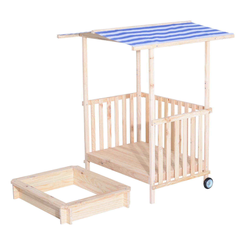 Aosom Qaba Wooden Framed Sandbox with Outdoor Balcony and...