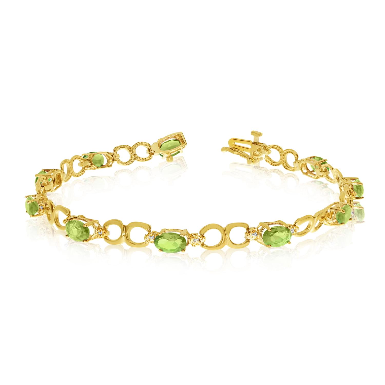 10K Yellow Gold Oval Peridot and Diamond Bracelet by LCD