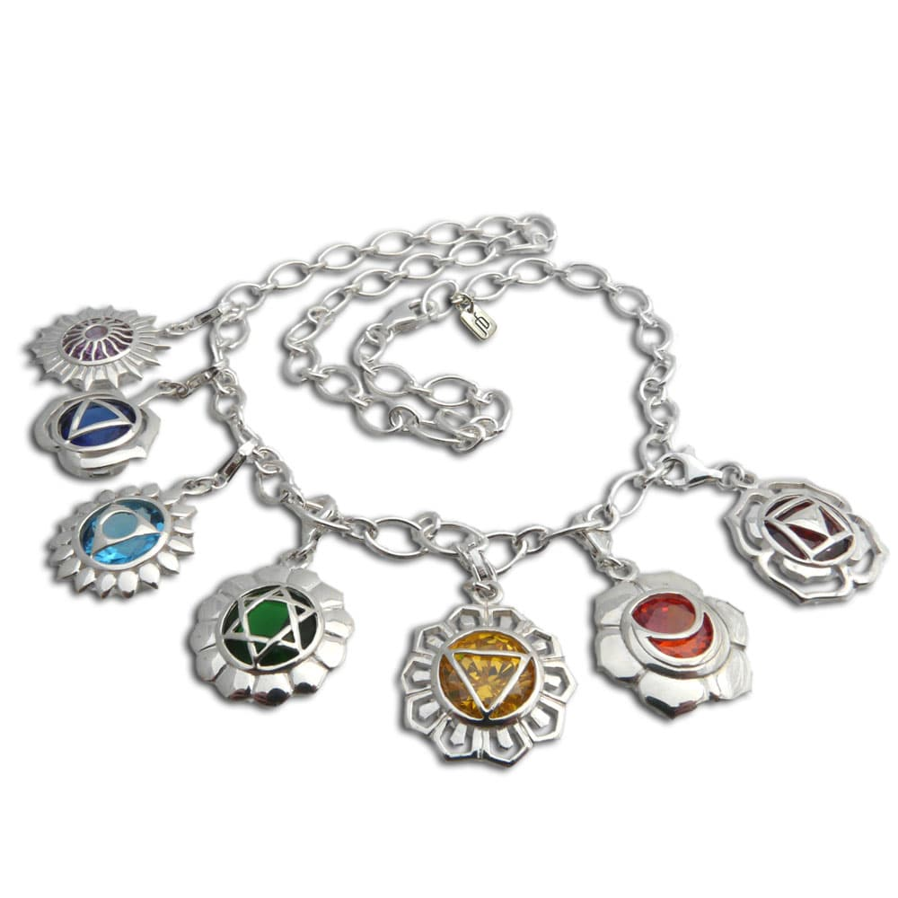 Handmade Sterling Silver 7 Chakra Mini-Charm Necklace (Th...
