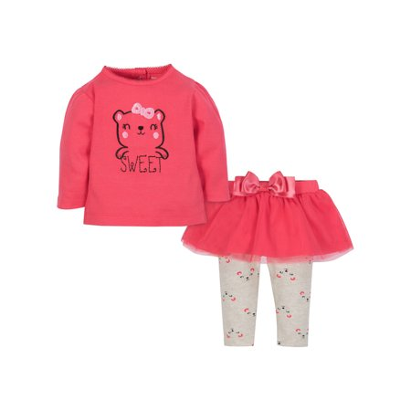 Gerber Baby Toddler Girl Shirt and Tutu Legging Outfit Set, 2pc](Criminal Outfit)