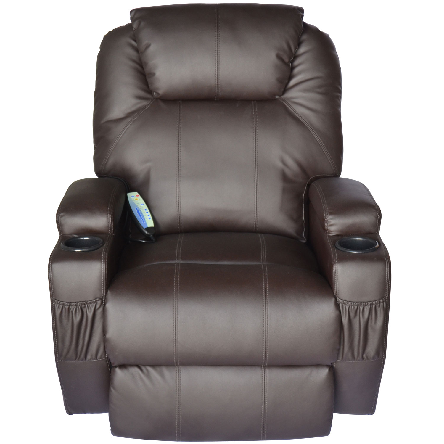 Hom Deluxe Heated Vibrating PU Leather Massage Recliner Chair