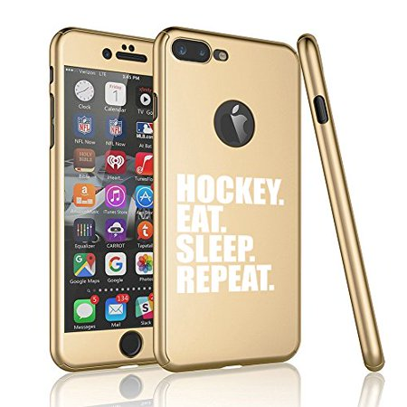 - For Apple iPhone 360° Full Body Thin Slim Hard Case Cover + Tempered Glass Screen Protector Hockey Eat Sleep Repeat (Gold For iPhone X)
