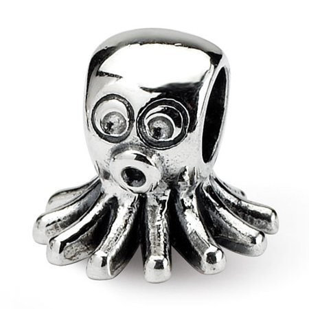 Sterling Silver Polished Antique finish Reflections SimStars Kids Octopus Bead Charm