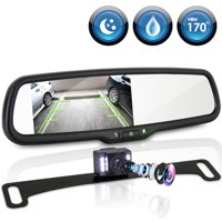 PYLE PLCM4565 - Backup Camera & Video Monitor System with 4.3'' Display Rearview Mirror, Smart Responsive Distance Scale Lines, Angle Adjustable Waterproof Cam