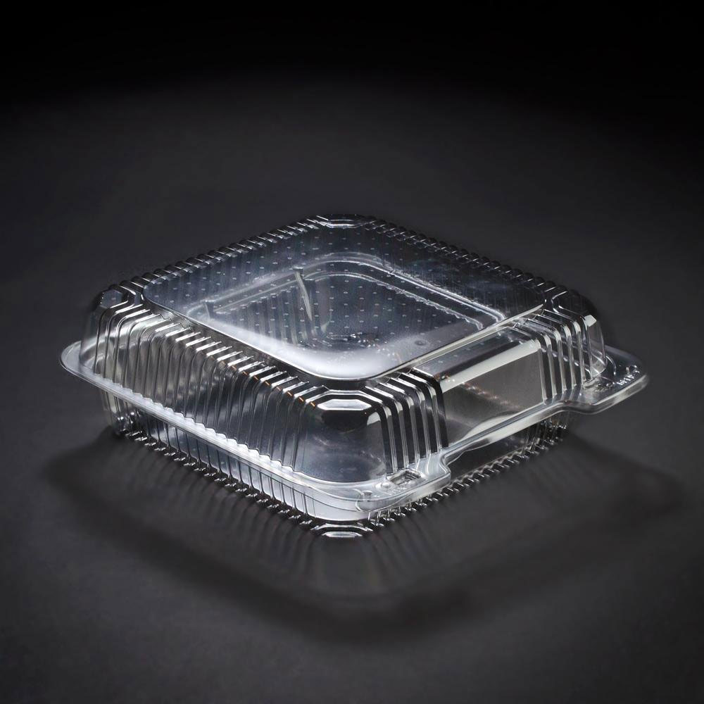 9 x 8 x 3 PETE Square Plastic Clear Hinged Containers/Set of 200