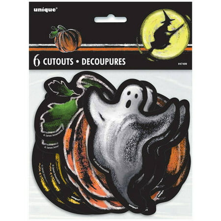 Paper Cut Out Ghostly Halloween Decorations, Assorted 6-Count - Halloween Cut Out Pages