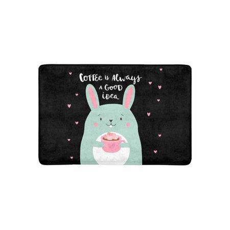 MKHERT Cute Rabbit with Funny Quote Coffee Always a Good Idea Doormat Rug Home Decor Floor Mat Bath Mat 23.6x15.7 inch](Welcome Home Baby Ideas)
