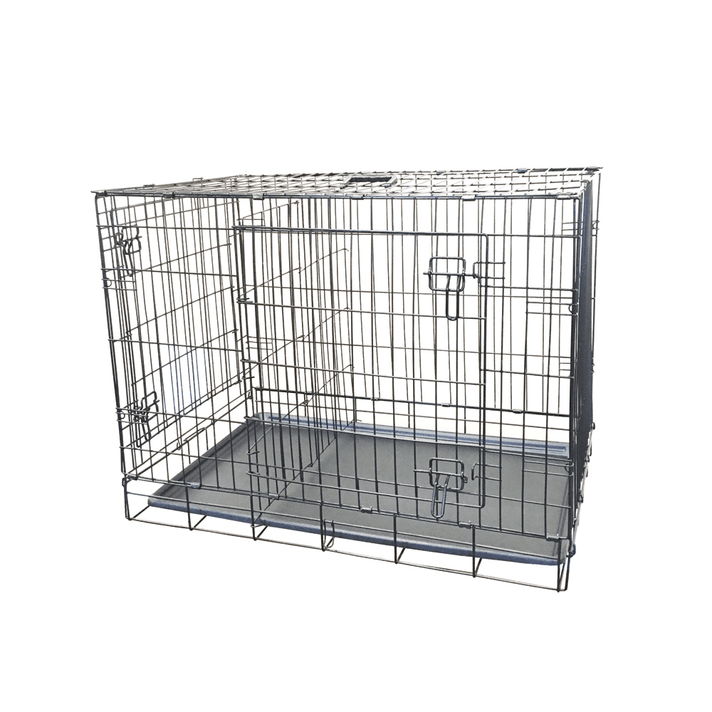 """KennelMaster 24"""" Folding Black Wire 2 Door Dog Crate by Robinson Tech Intl Corp"""